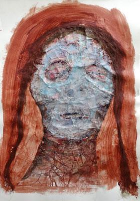 Schlafdada, 2016, Hanffasser, Acrylbinder, Pigmente, Acrylfarbe, Tuschen, u.a. 59 x 42 cm