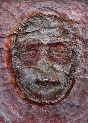 Worriwu, 2016, Acrylbinder, Pigmente, Tuschen, u.a. auf Papier, ca. 55 x 40 cm