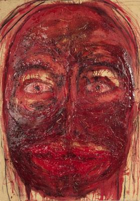 Sonntags-Gesicht, 2014, Mischtechnik mit Silikon auf Leinwand 140 x 100 cm (Foto: www.foto-tham.de)