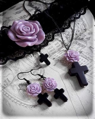 Black Cross with a Purple Rose Range