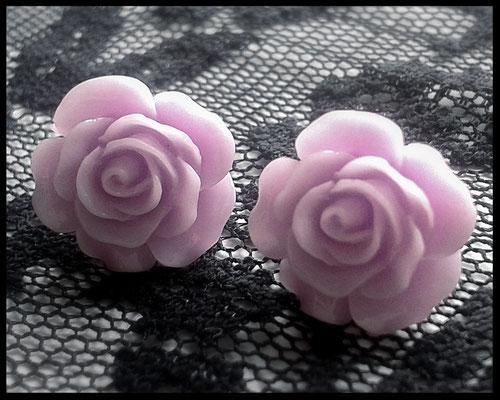 Pastel Goth Rose Stud Earrings - Purple