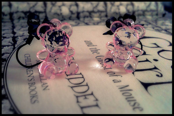 Translucent Pink Teddy Bear Earrings with Black Bows