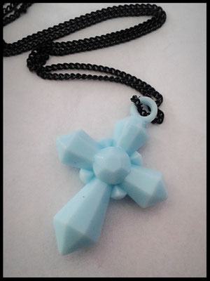 Baby Blue Cross Necklace