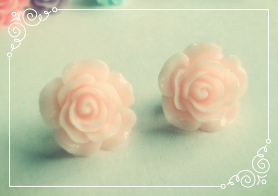 Pastel Coloured Rose Stud Earrings - Peach