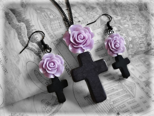 Black Cross with a Purple Rose Necklace & Earrings Set