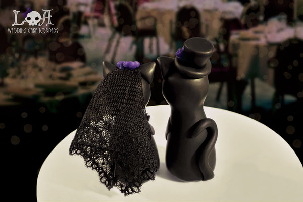 Gothic Cat Wedding Cake Toppers