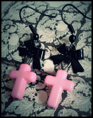 Pink Cross Earrings with Black Bows