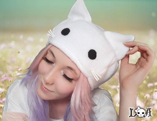 Kawaii Kitty Hat in White