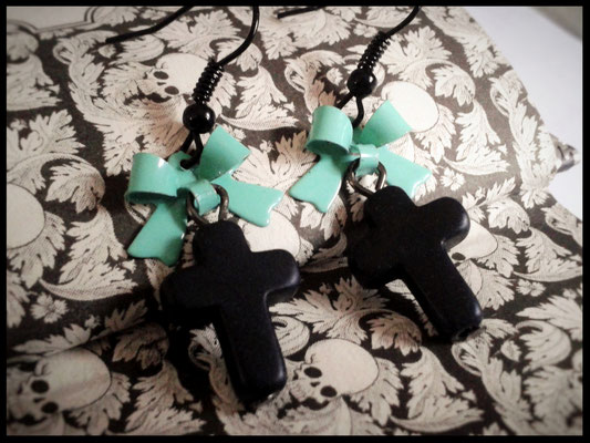 Black Cross Earrings with a Mint Bow