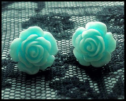 Pastel Goth Rose Stud Earrings - Aqua Blue