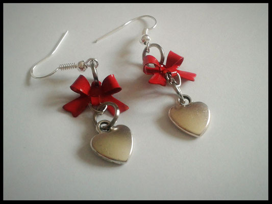 Heart Earrings with Red Bows