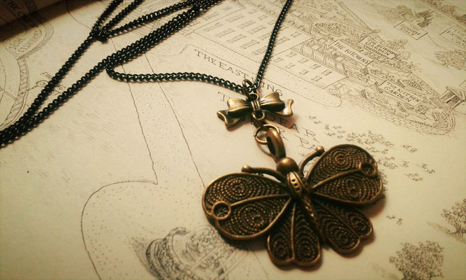 Steampunk Butterfly Necklace with Bronze Bow
