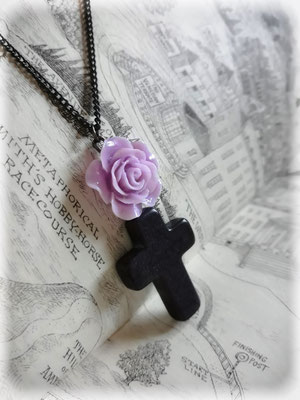 Black Cross Necklace with a Purple Rose