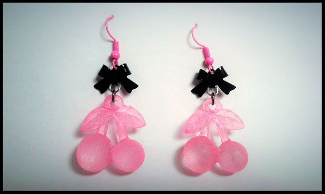 Pink & Black Cherry earrings with Black Bows