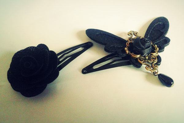 Steampunk Butterfly & Rose Hair-Clips