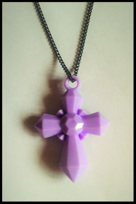 Pastel Purple Cross Necklace