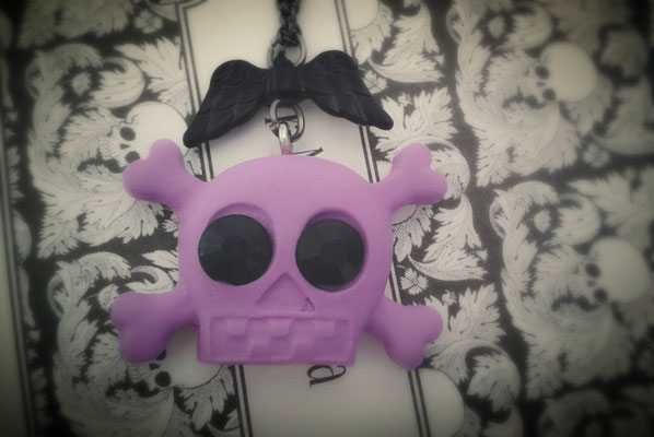 Purple Skull & Cross Bones Necklace