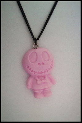 Pastel Skull Doll Necklace - Pink