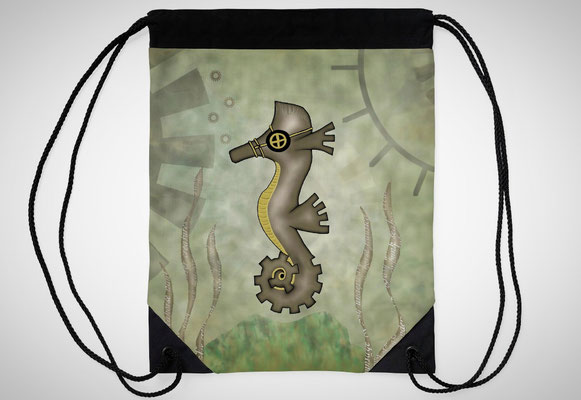Steampunk Seahorse Drawstring Bags