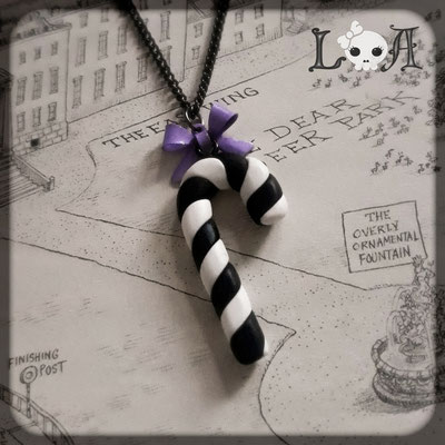 Black & White Pastel Goth Candy Cane Necklace