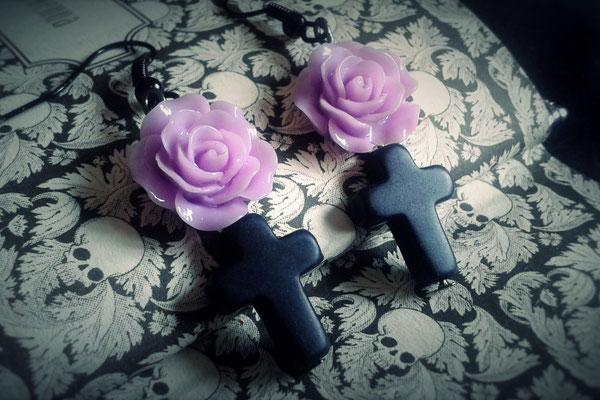 Black Cross Earrings with a Purple Rose