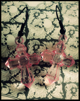 Pastel Goth Translucent Pink Cross Earrings