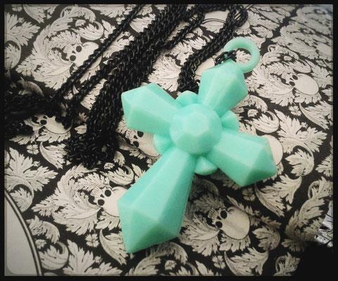 Mint Green Cross Necklace