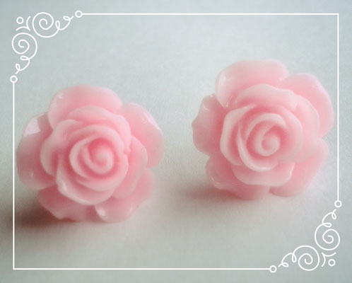 Pastel Coloured Rose Stud Earrings - Pink