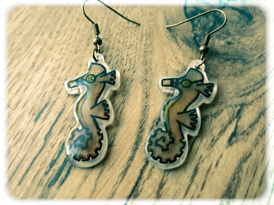 Steampunk Seahorse Earrings