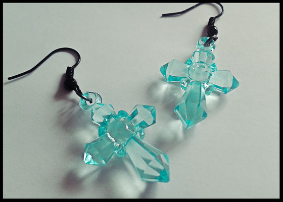 Translucent Aqua Cross Earrings