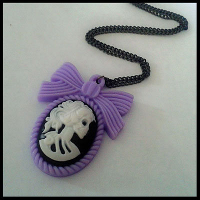 Lolita Skull Cameo Necklace with Pastel Purple Bow Setting