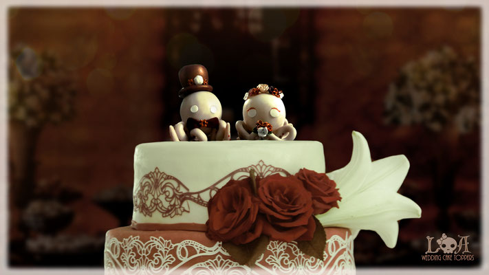 Steampunk Octopus Wedding Cake Toppers