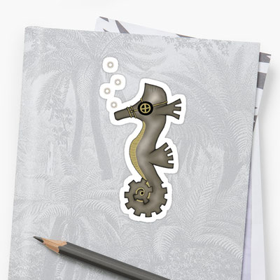 Steampunk Seahorse Stickers