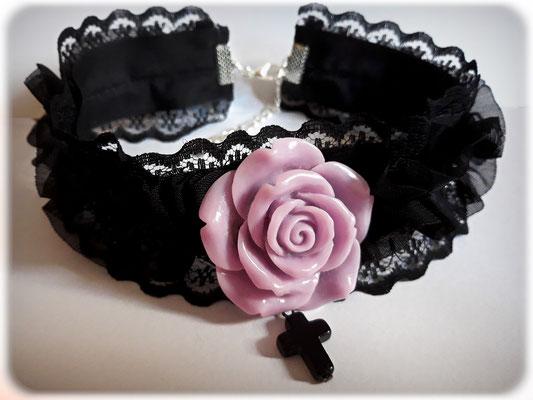 Black Cross Choker with a Purple Rose