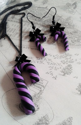 Pastel Goth Candy Cane Necklace & Earrings