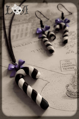 Black & White Pastel Goth Candy Cane Necklace and Earrings