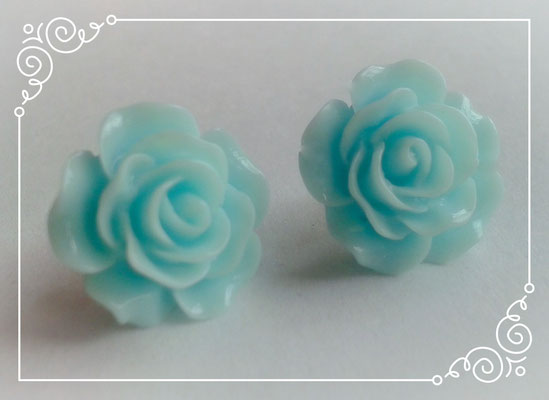 Pastel Coloured Rose Stud Earrings - Blue