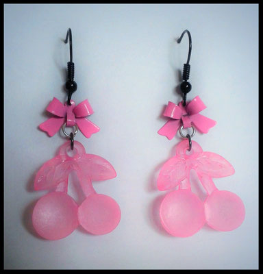 Pink & Black Cherry earrings with Pink Bows