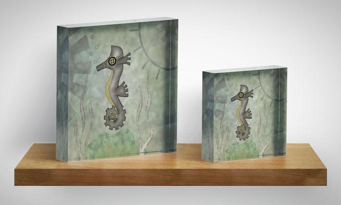 Steampunk Seahorse Acrylic Blocks