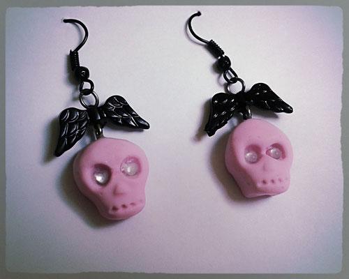Pink Skull Earrings with Black Wings