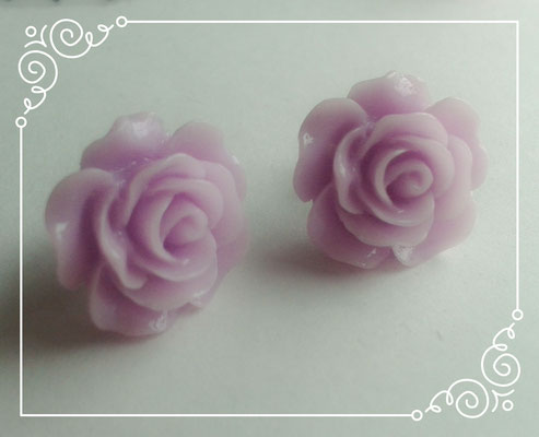 Pastel Coloured Rose Stud Earrings - Purple