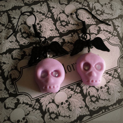 Pink Skull Earrings with Black Wings