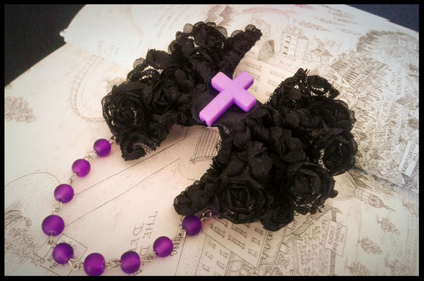 Black & Purple Beaded Bow with Cross