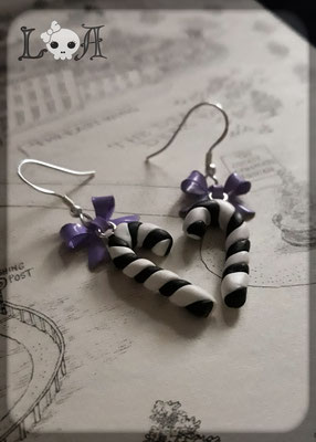 Black and White Candy Cane Earrings with Sterling Silver Hooks