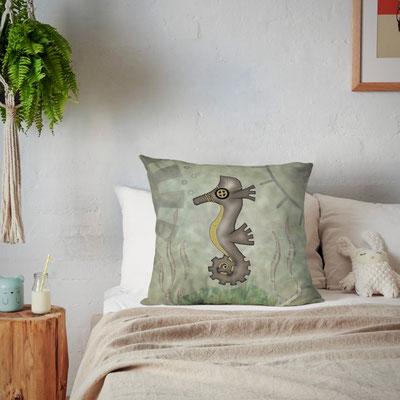 Steampunk Seahorse Pillow