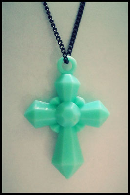 Mint Green Cross Necklace