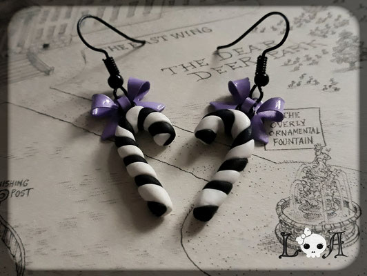 Black and White Candy Cane Earrings with Black Hooks