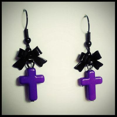 Purple Cross Earrings with Black Bows