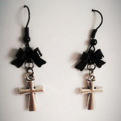 Cross Earrings with Black Bows