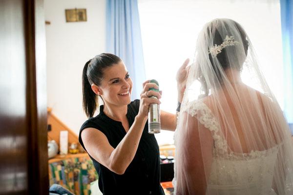 Anja Huber kümmerte sich um das Styling der Braut